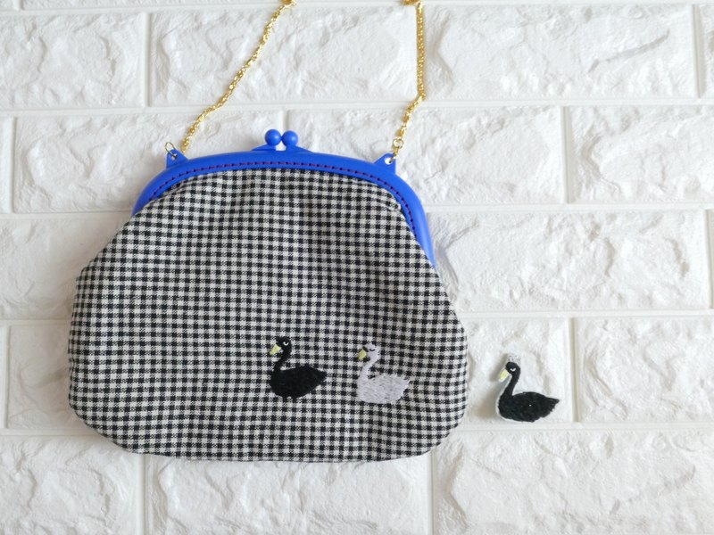 Embroidery 2way Gingham Check Swan