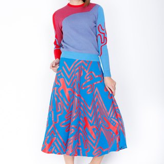 ZIZTAR Do Not Touch Cactus Half Half Midi Skirt