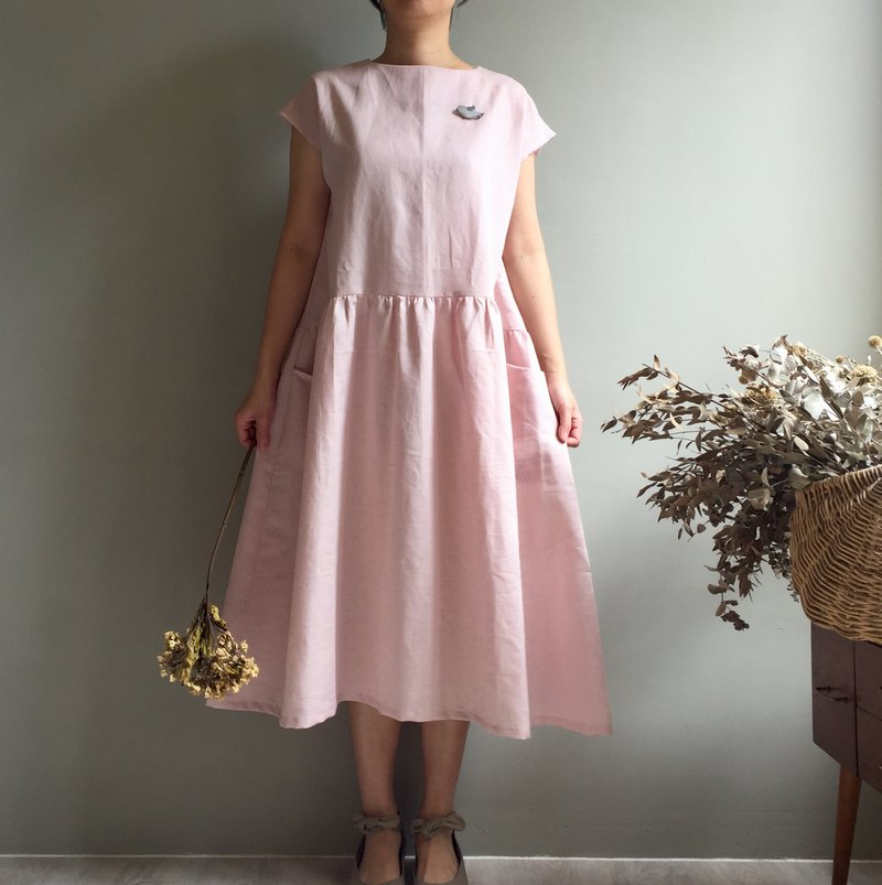 Flower tree, spring breeze/dry rose pink French sleeve length pocket dress 100% linen