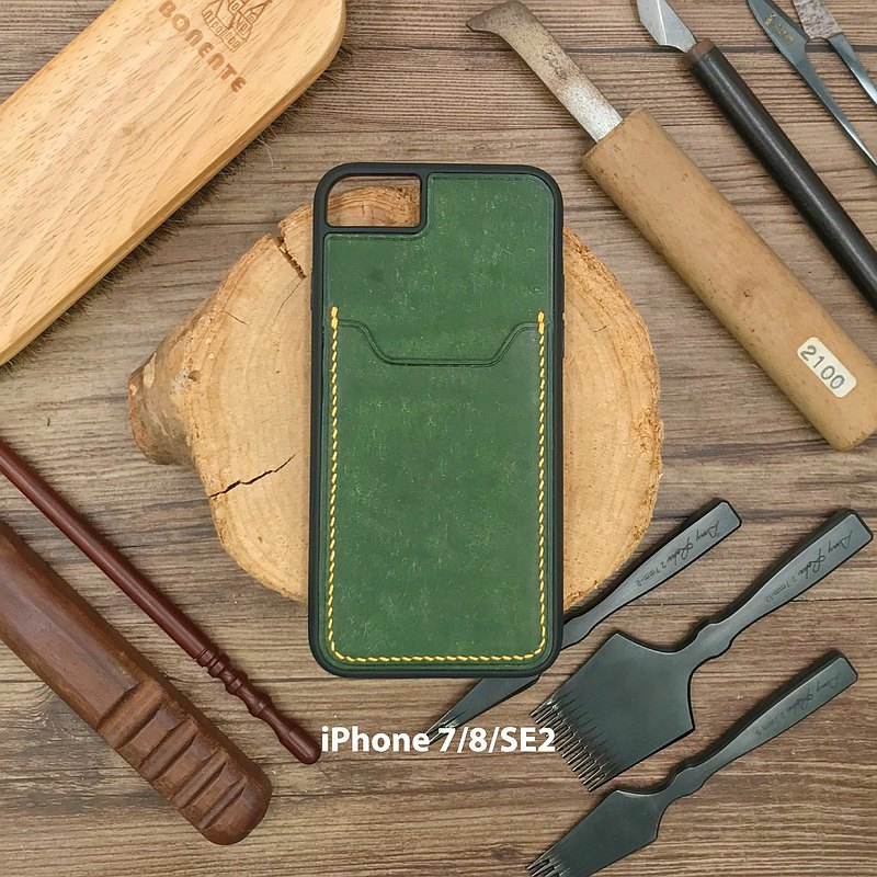 [IPhone card position mobile phone case] green frosted cowhide | drop-resistant | Hong Kong hand-sewn leather goods