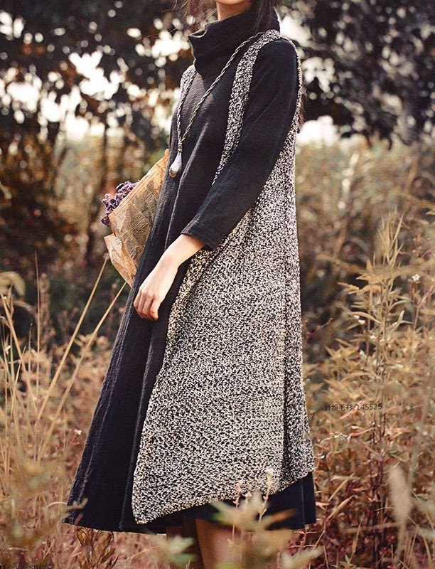 Calf Calf Village ├ original village not Zhuangshan ┤ manual Lycra high collar long-sleeved dress wild plain black occult Kuroshio {}