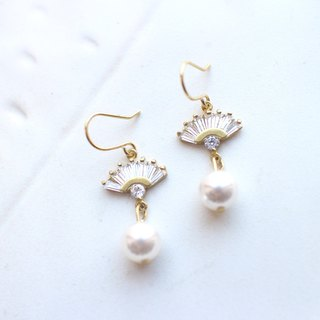 Classic pearls zircon earrings