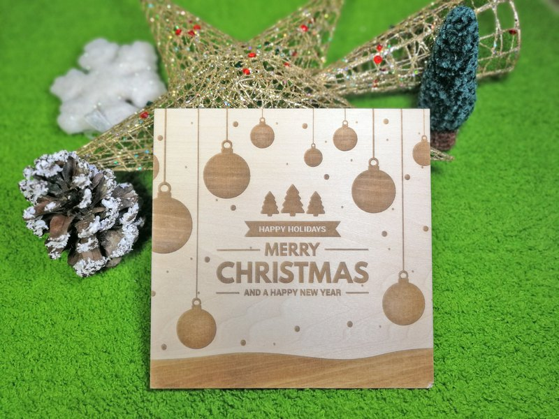 <<Discount>> Christmas Tree and Balls Laser Engraved Wooden Christmas Card