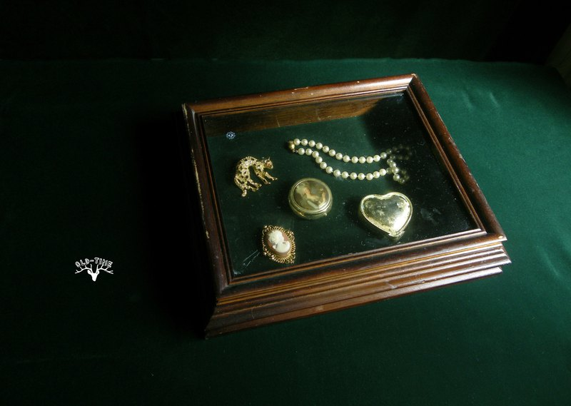 [Old Time OLD-TIME] Early display glass wooden box