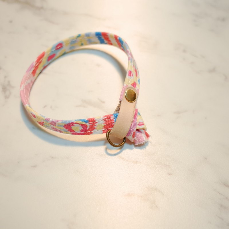 Cat collar spring romantic watercolor pink can be double-sided wear can purchase tag