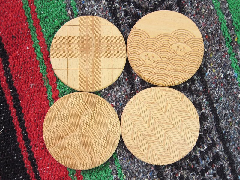 Chainloop TAB top beech coaster Wenchuang log laser engraving life healing small things