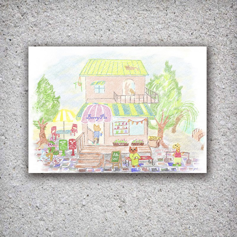 BerryPio Cafe / Postcard * Pink Girl Heart