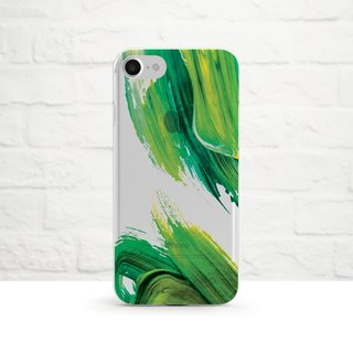 Abstract Acrylic Painting, Green - Clear Soft Phone Case, iPhone 8, iPhone 7, iPhone 7 plus, iPhone 6, iPhone SE, Samsung