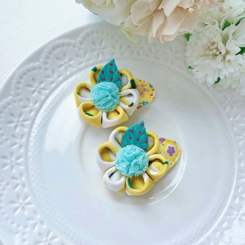 Fresh yellow flower Japanese style and wind flower baby baby hair clip