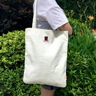 The.Playing.Forest-Chief Embroidery Canvas Tote / White