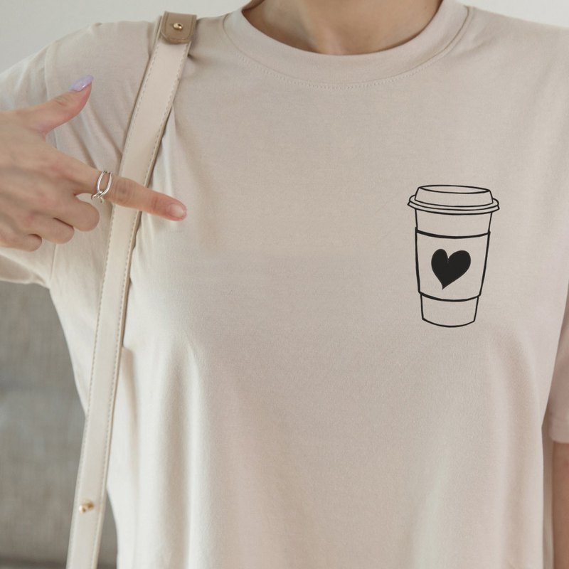 Pocket COFFEE HEART unisex sand color t shirt