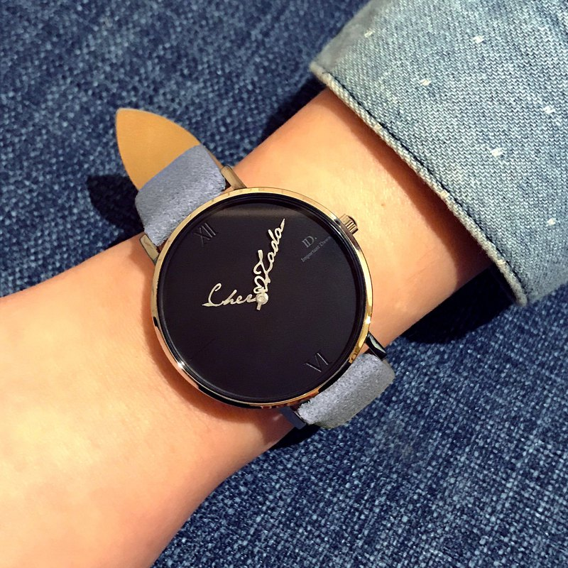 Customized Name Pointer Watch--36mm Roman Light Blue Gray Leather Small Watch