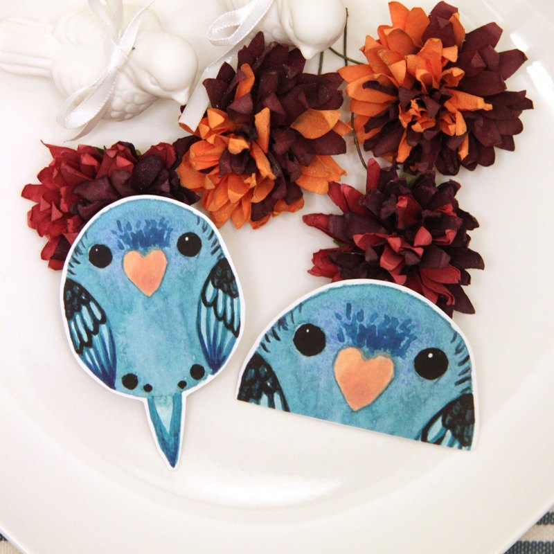 Rolia's hand made blue horizontal spot parrot waterproof stickers