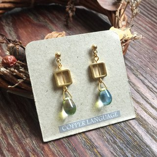 Earrings - Teardrop Series / Square Blue Green