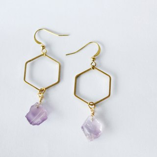 Amethyst irregular raw stone earrings 14K Note gold US ear hook