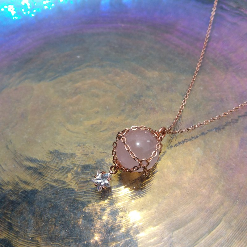 【Little Sphere】Rose Quartz Necklace - Star / Rose Gold