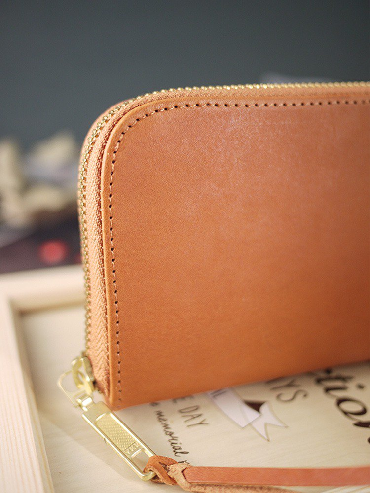 Huang 0 Ci's exclusive order - caramel brown. Vegetable tanned leather long clip / wallet / wallet / coin purse