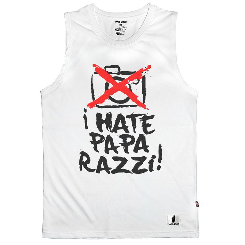 British Fashion Brand -Baker Street- I Hate Paparazzi Printed Tank Top