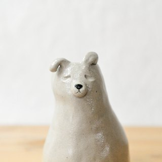 Pottery hand made white dog flower