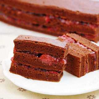 INNS Stone Restaurant - French Black Velvet Raspberry Cake - Double Layered Wild Raspberry Sandwich