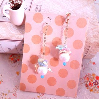 Japan cotton pearl hand-twisted wool drape style earrings * Sodagreen bubble D141 gift forest dream sweet girl heart
