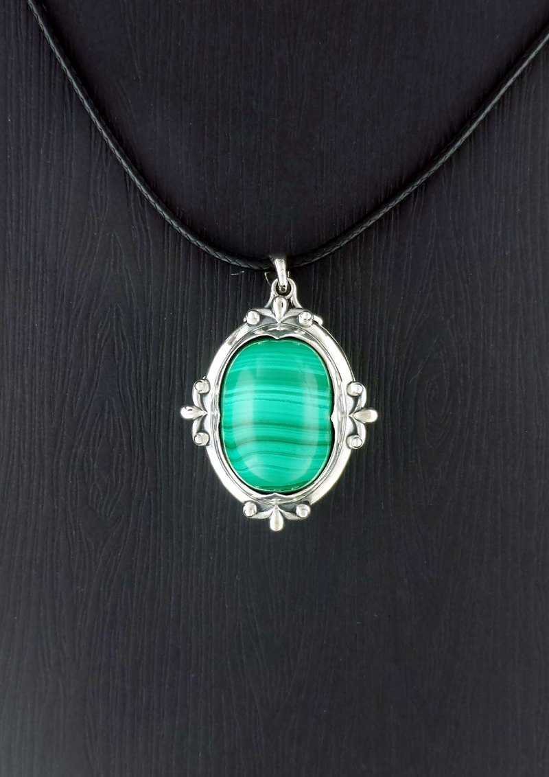 Cherish - 42.3ct Malachite Sterling Silver 925 Locket Pendant