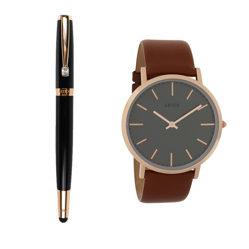ARTEX Elegant Touch Ballpoint Pen - Rose Gold / Black Tube + Style Leather Watch Brown / Rose Gold