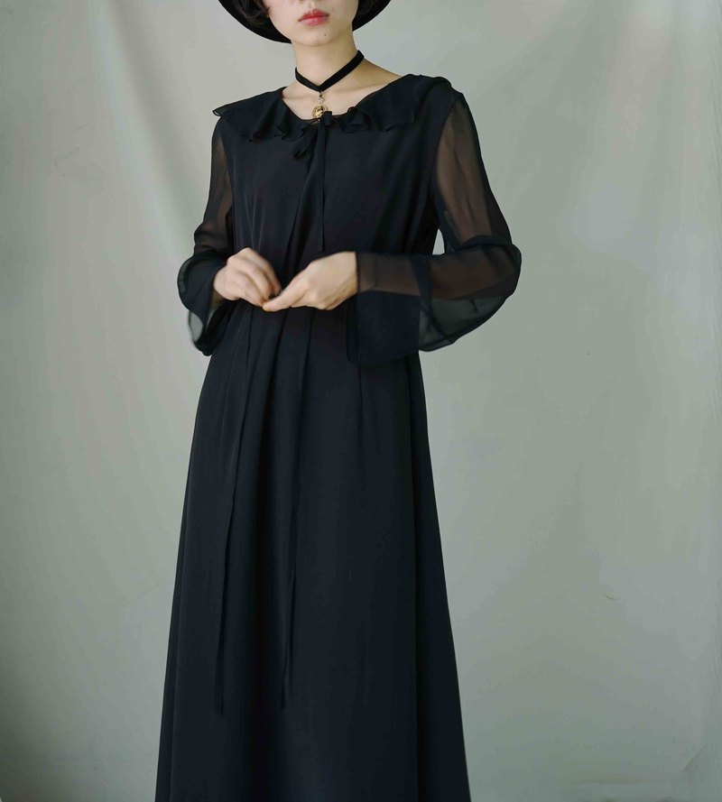 Treasure Hunting - Dark Black Translucent Chiffon Umbrella Edition Elegant Little Witch Dress