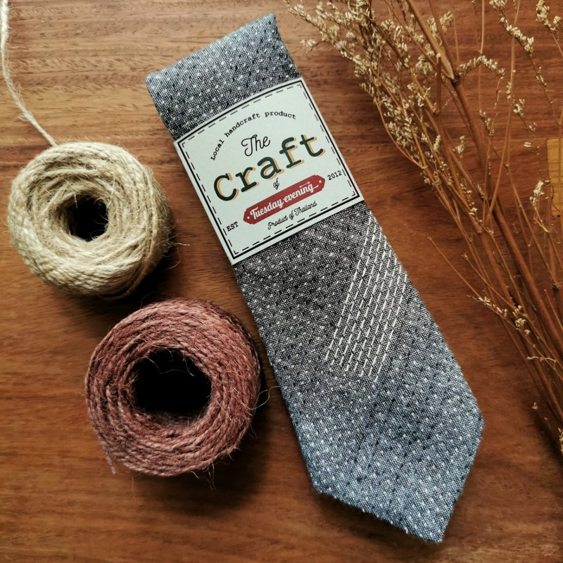 Handicraft Grey Cotton Stitchy Dot Stripe Neck Tie