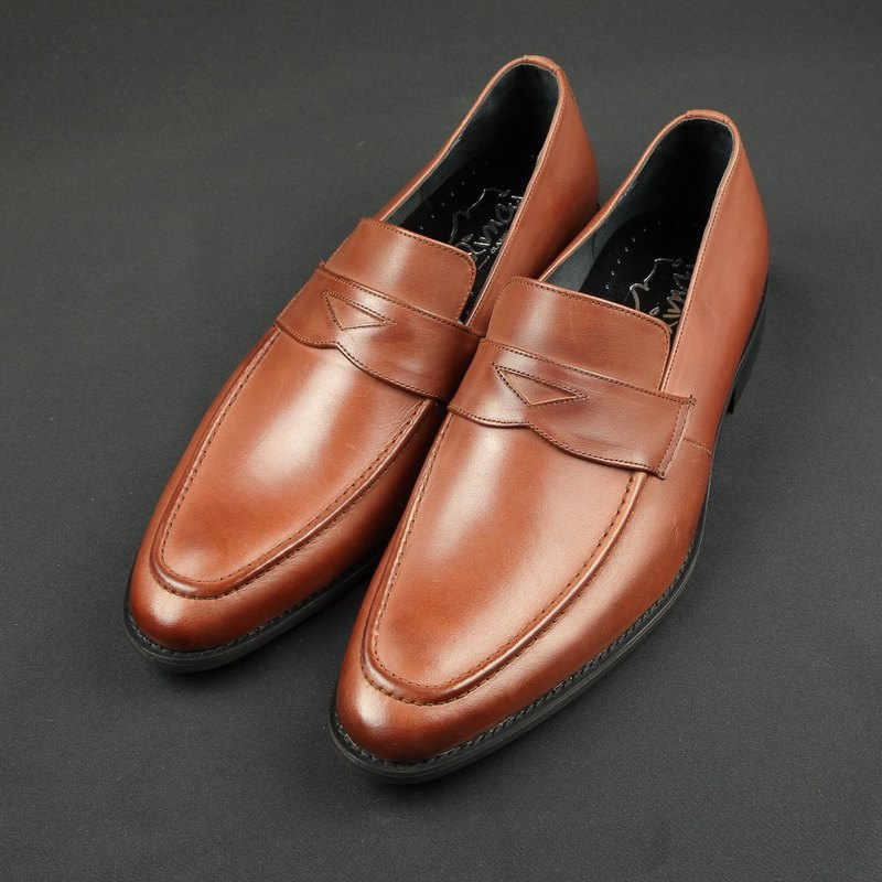 Classic Gentleman Penny Leather Loafers - Vintage Wine Red