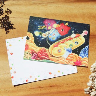 Diver Dreaming Spaceman / Postcard