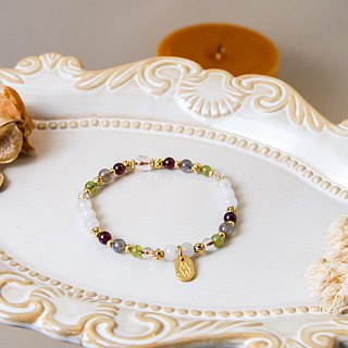 <Slow warm natural stone series>C1210 White Moonlight Purple Pomegranate Bracelet