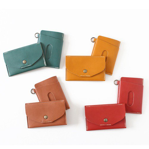 To a new life! Set of pass case and thin business card holder Choice of 10 colors Free shipping (made-to-order)