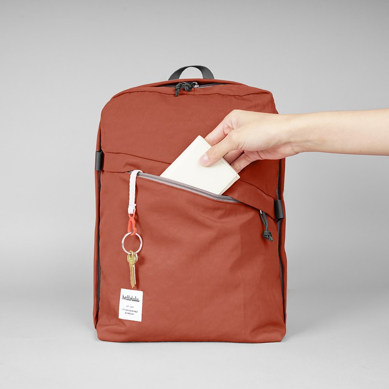 hellolulu CASPAR Casual Backpack-Brick Red