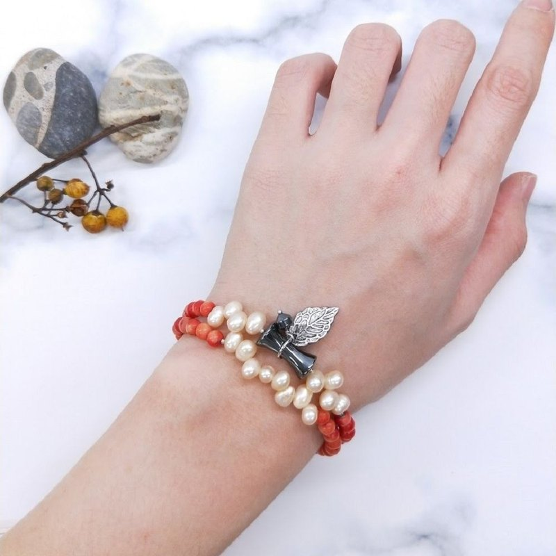 Bracelet. Sea bamboo * natural irregular pearl double-layer bracelet / New Year gift