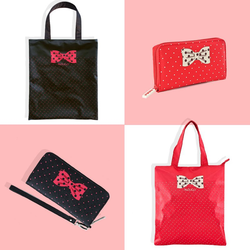 Goody Bag - Easy to roll up and carry with you [Bowlet Shopping Bag + Bow Long Clip]