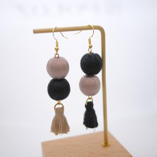 Brown x Black Embroidered Ball Tassel Earrings/Ear clips