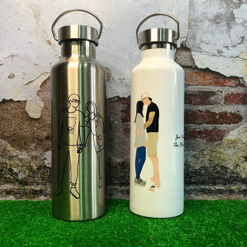 Customized hand-painted thermos [line or faceless man] hand-painted Q version hand-painted gift hand-painted portrait