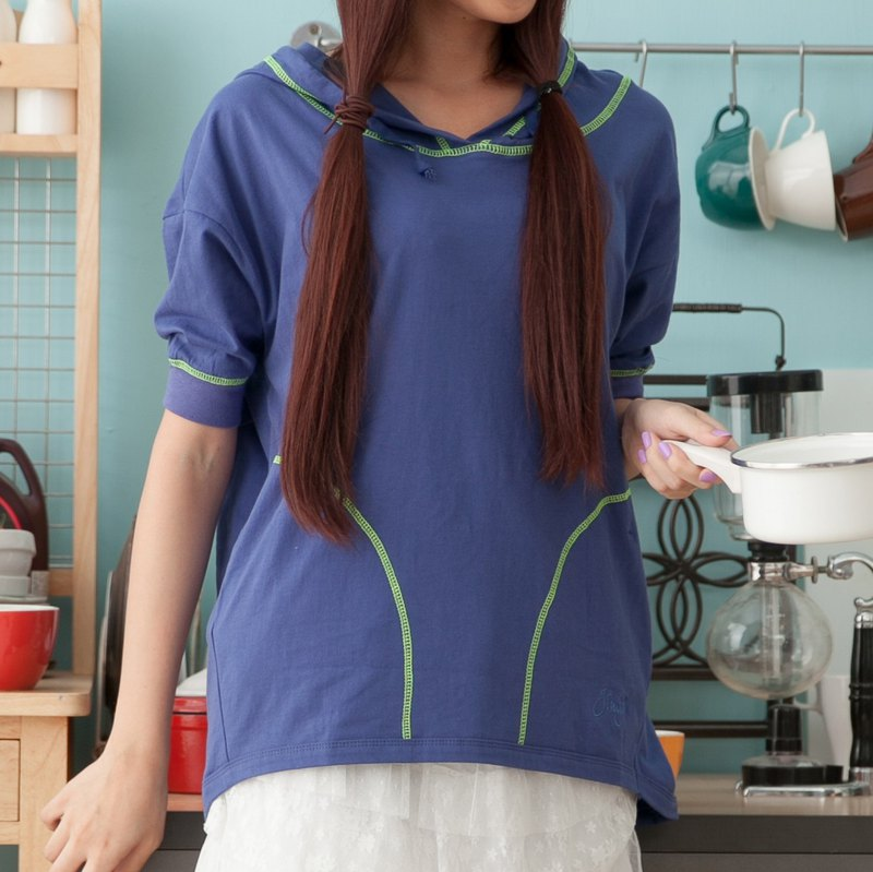 3/4 Sleeve T-Shirt With Hood - Purplish Blue