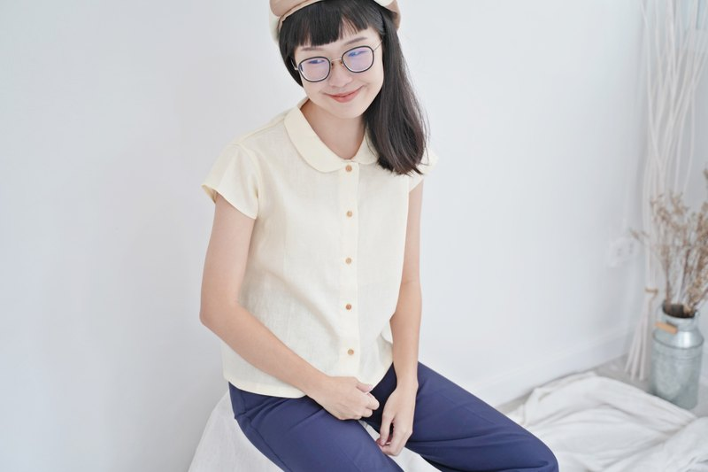 Cream Peter Pan Collar Shirt