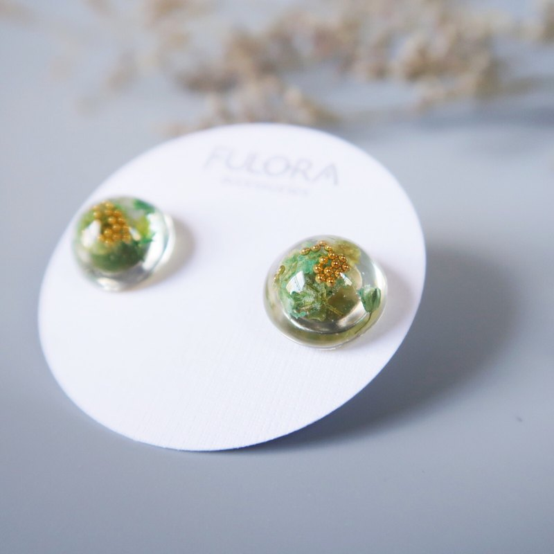 Dry Flower Series - Green Ghost Resin Earrings Medical Steel Ear Pins