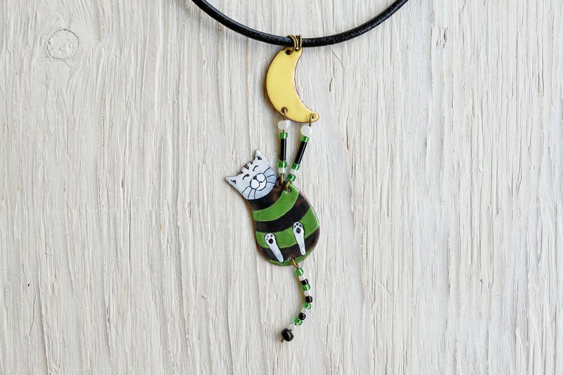 Green Cat, Cat necklace, Striped necklace,, Cat jewelry, Cat and moon,