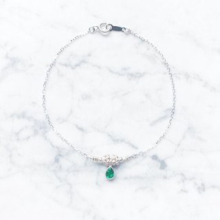 :: Silver Snow Lace Series :: Silver Snow Lace Ice Drops (Emerald) Cut Zero Sense Silver Bracelet