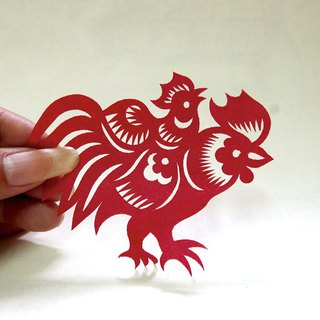 Ji (chicken) on the plus (chicken) paper cutting ji01