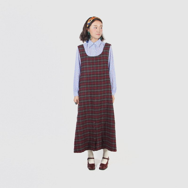 [Egg Plant Vintage] Library afternoon suede vintage dress