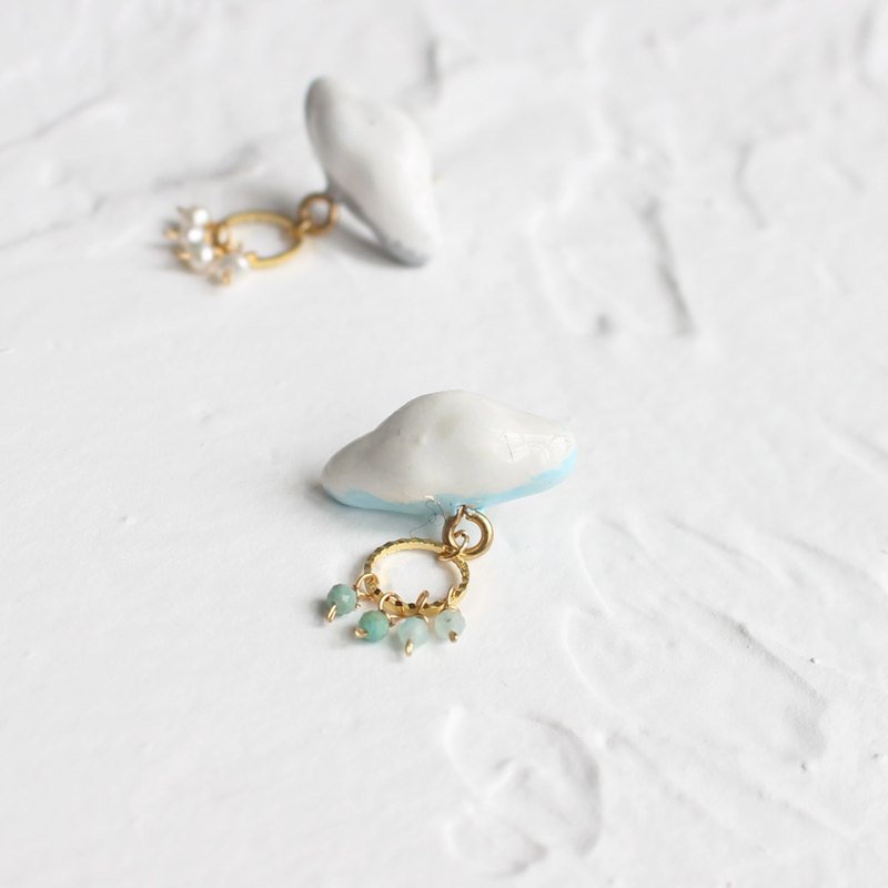 White Cloud Earrings Stud / Clip on I Story_Cloud is thinking...