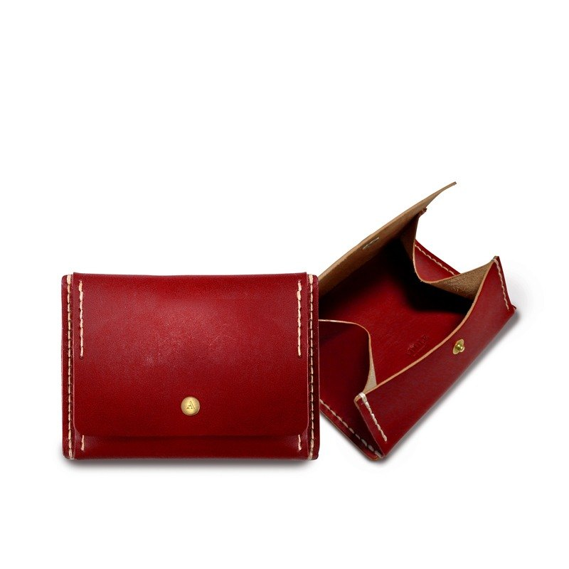 [ADOLE] leather hand made DIY set - coin purse - red
