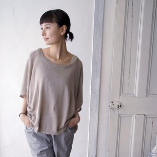 Cotton linen high gauge knit poncho style pullover / natural