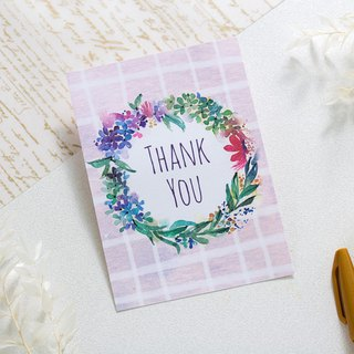 Thank you thank you watercolor wreath postcard
