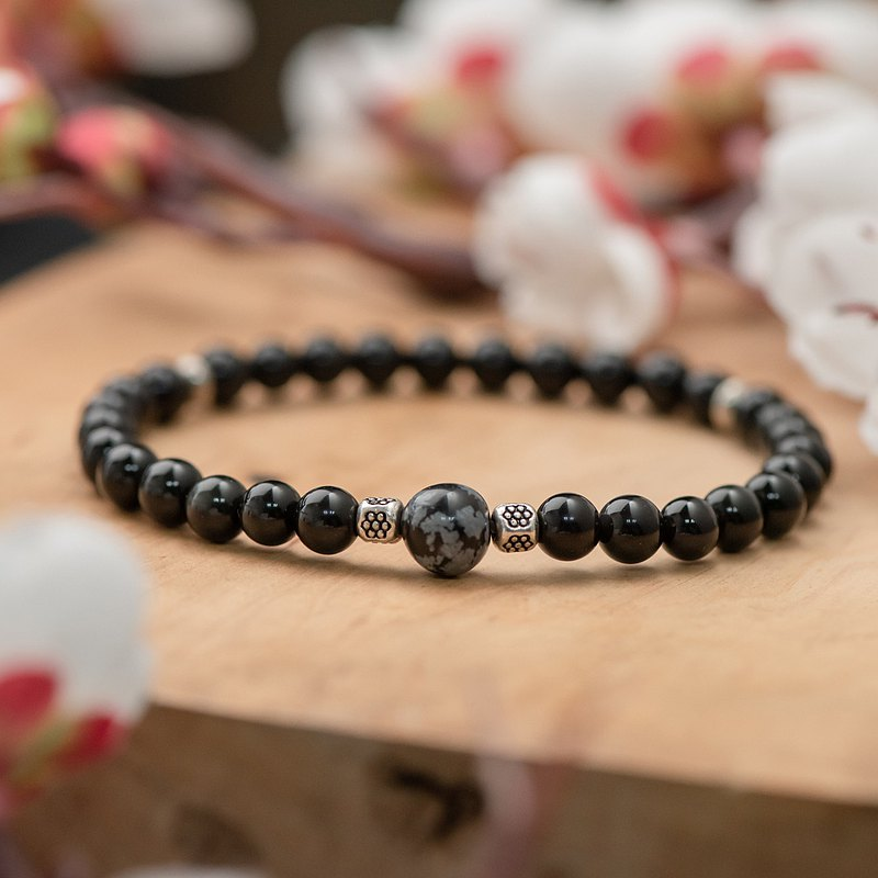 Obsidian series. growing up. Snowflake obsidian single-layer bracelet.